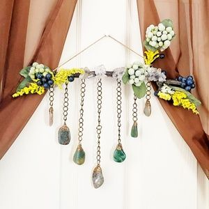 Bloodstone and Quartz Floral Wall Hanging